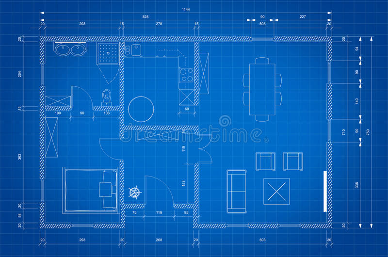 Modèle de plan d'architecte pour la construction de maison illustration stock