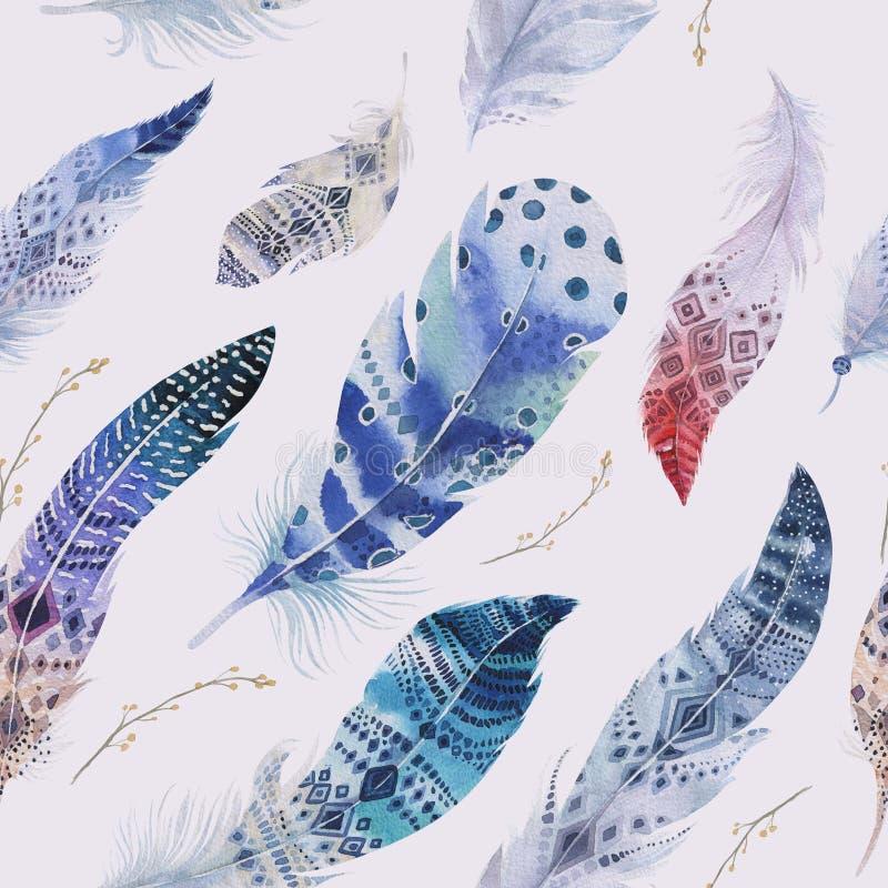 Modèle de plumes Fond élégant d'aquarelle Col pour aquarelle illustration libre de droits