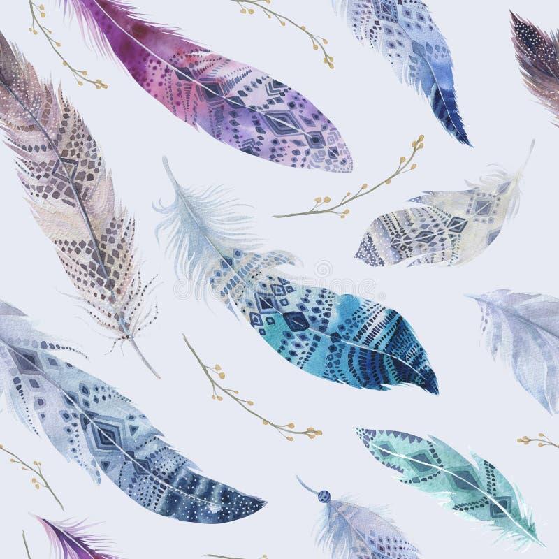 Modèle de plumes Fond élégant d'aquarelle Oiseau pour aquarelle illustration stock