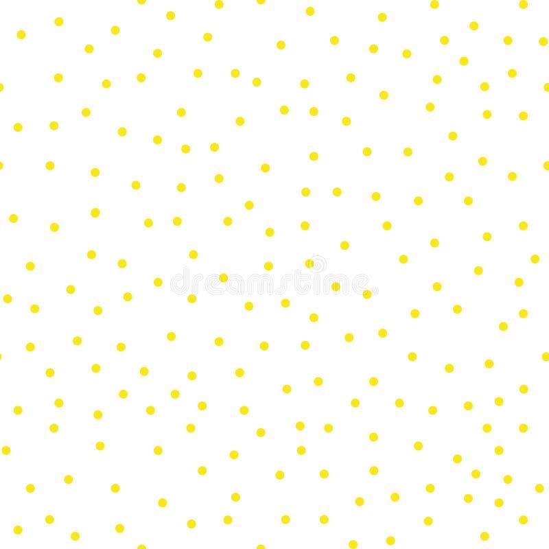 Modèle de point écervelé de polka de vecteur avec de petits cercles tirés par la main dispersés dans l'or jaune et les couleurs b photographie stock