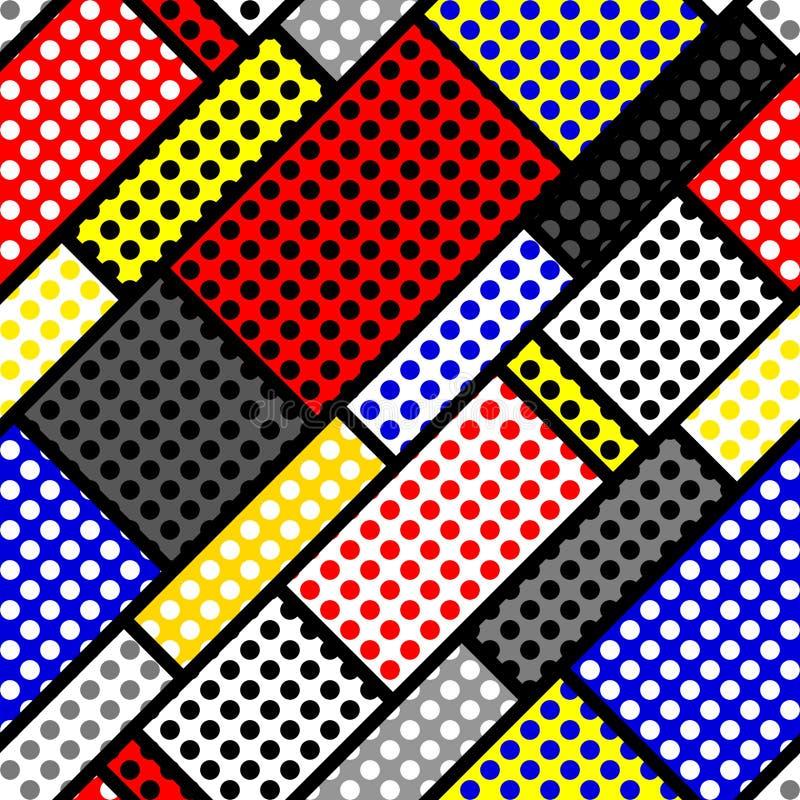 Modèle de point classique de polka dans un style de collage de patchwork illustration de vecteur