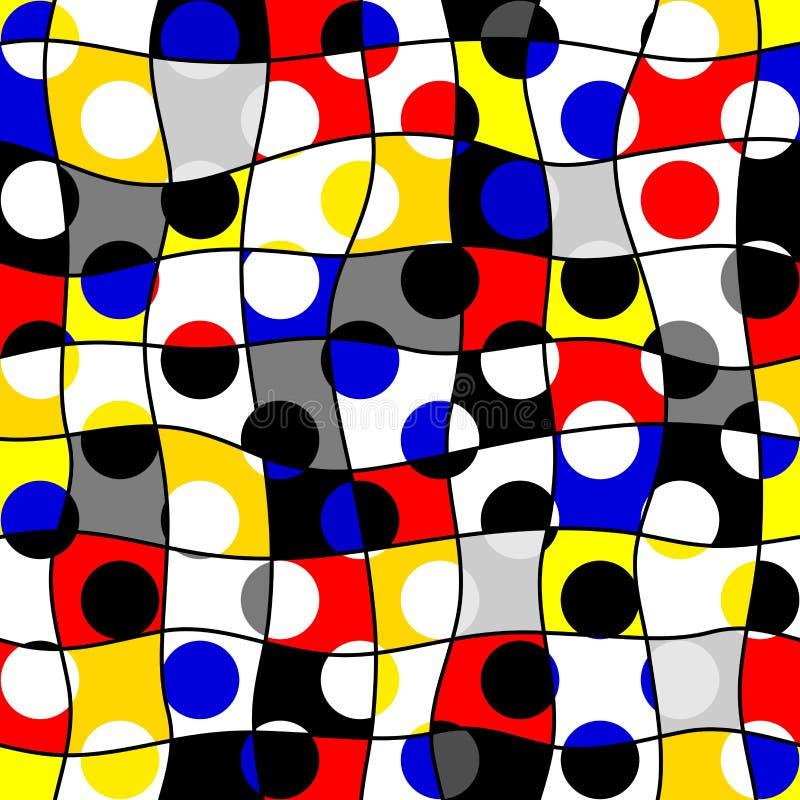 Modèle de point classique de polka dans un style de collage de patchwork illustration libre de droits