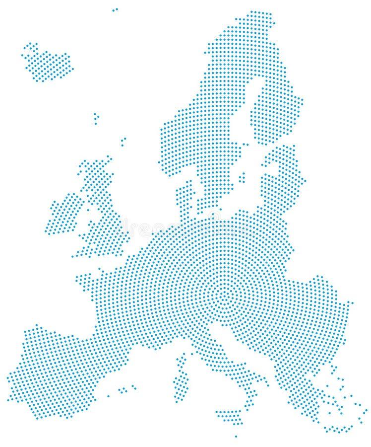 Modèle de point radial de carte de l'Europe illustration libre de droits