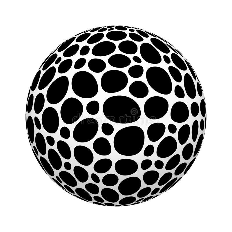 Modèle de points noir de mosaïque de cercle sur la forme de boule ou de sphère d'isolement sur le fond blanc Conception haute de  illustration libre de droits