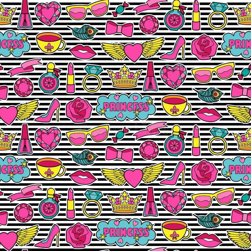Modèle de princesse Fashion Patches Seamless illustration de vecteur