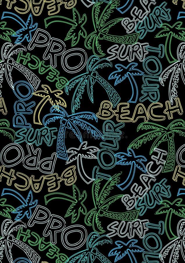 Modèle de répétition des textes de ressac de visite de plage pro illustration libre de droits