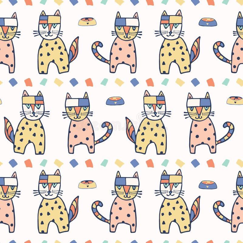 Modèle de répétition sans couture de chats géométriques tirés par la main de vecteur illustration libre de droits
