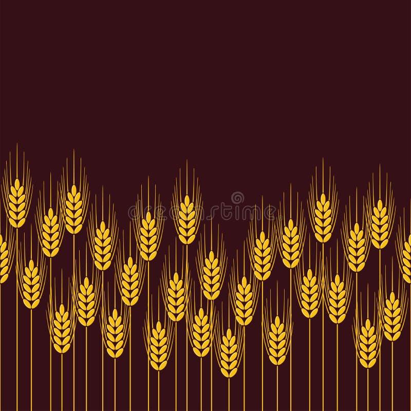 Modèle de répétition sans couture de champ de blé, de seigle ou d'orge illustration libre de droits