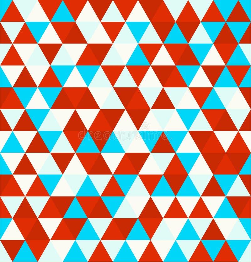 Modèle de répétition sans couture de fond de rétro triangle géométrique Mosaïque de diverses nuances dans blanc et bleu rouges illustration stock