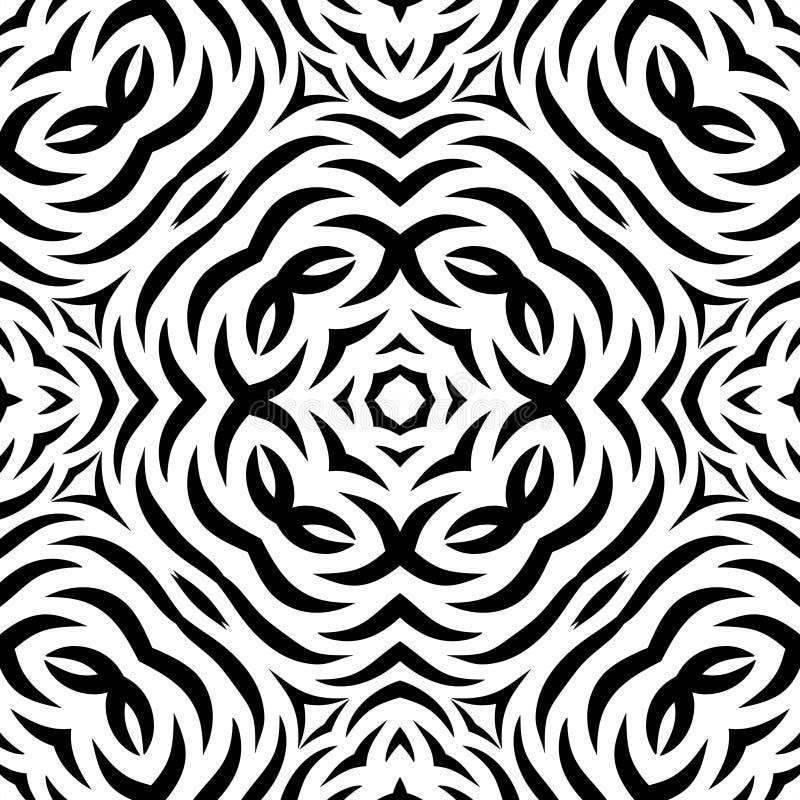 Modèle de répétition sans couture noir et blanc de vecteur illustration stock