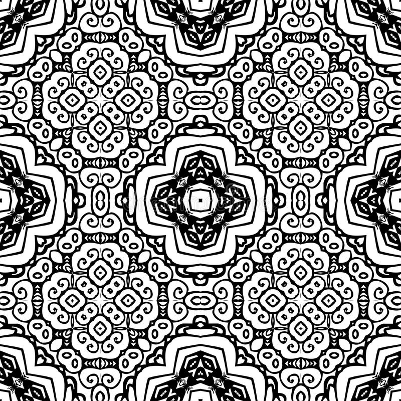 Modèle de répétition sans couture noir et blanc de vecteur illustration de vecteur