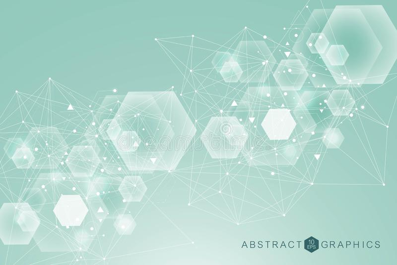Modèle de réseau de la Science, canalisations de raccordement et points Vecteur global de connexion réseau illustration libre de droits
