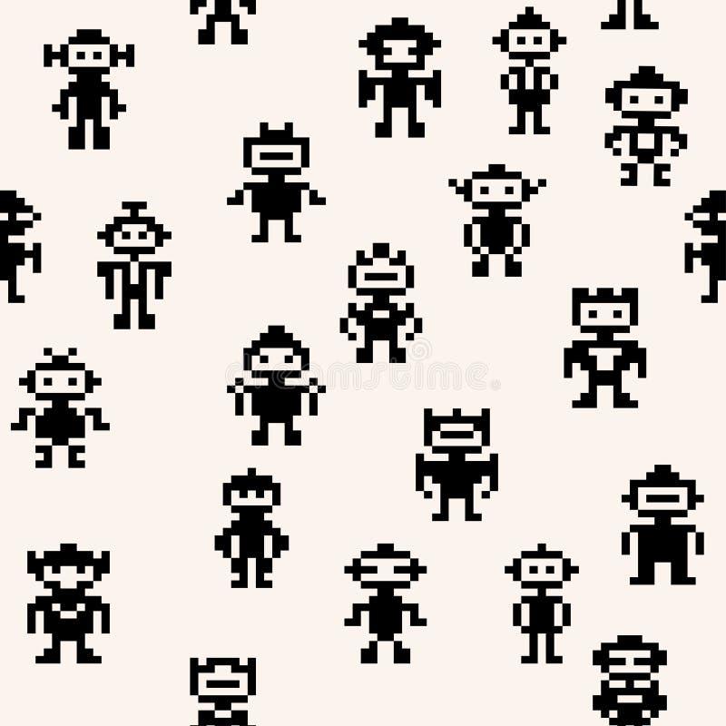 Modèle de robots de pixel illustration libre de droits