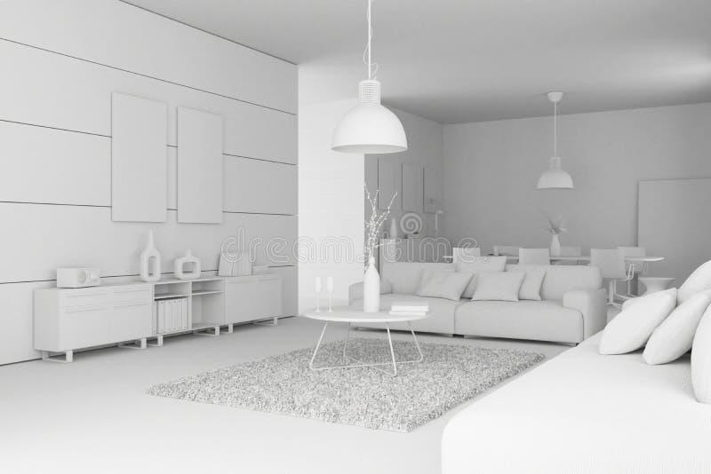 Modèle de salon moderne de conception intérieure illustration stock