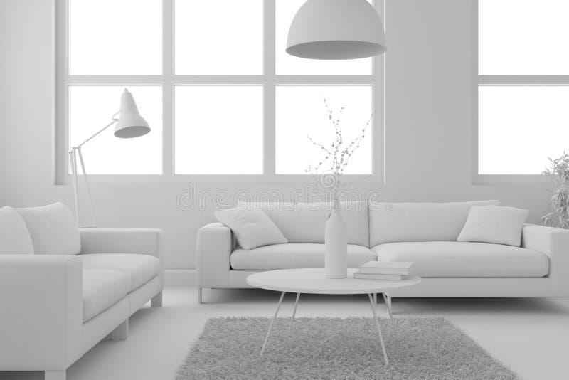Modèle de salon moderne de conception intérieure illustration de vecteur