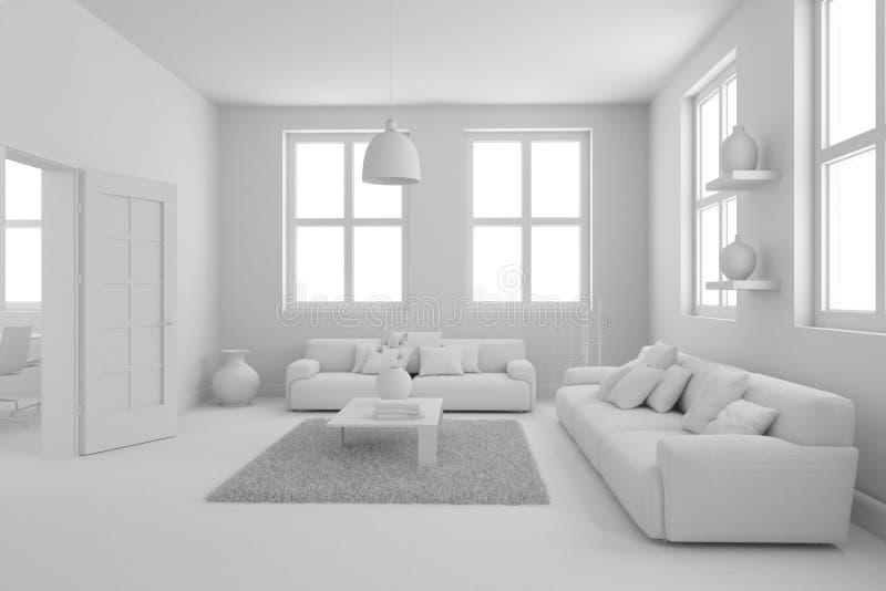 Modèle de salon moderne de conception intérieure illustration libre de droits