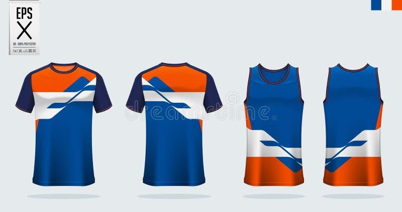 Modèle de modèle de simulation de sport de T-shirt pour maillot de football, kit de football et plateau de tank pour maillot de b images libres de droits