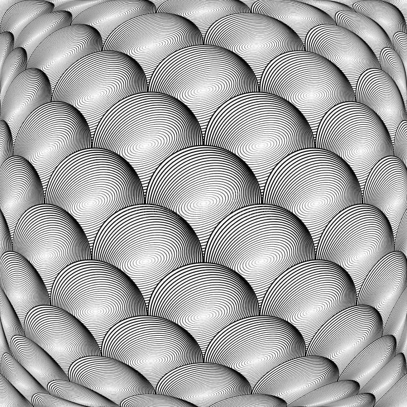 Modèle de sphère de grille déformé par monochrome de conception illustration stock