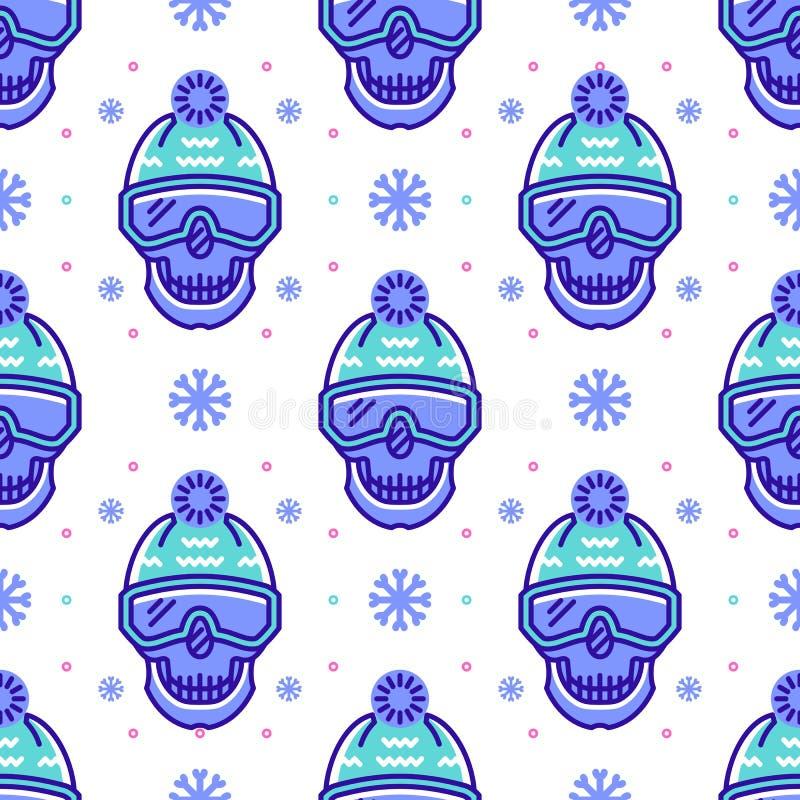 Modèle de surf des neiges, conception sans couture de sport d'hiver Ligne moderne symboles de hippie illustration libre de droits