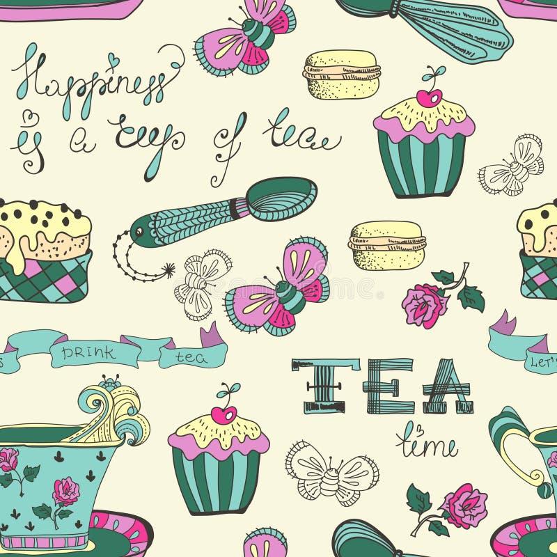 Modèle de temps de thé de couleur illustration stock