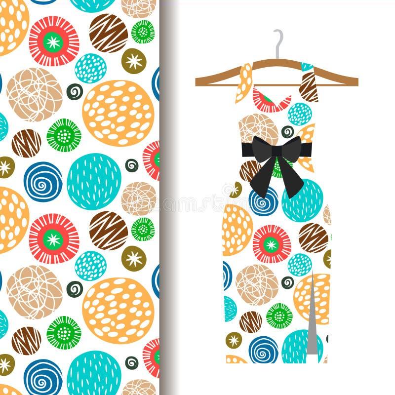 Modèle de tissu de robe de femmes avec des points illustration de vecteur