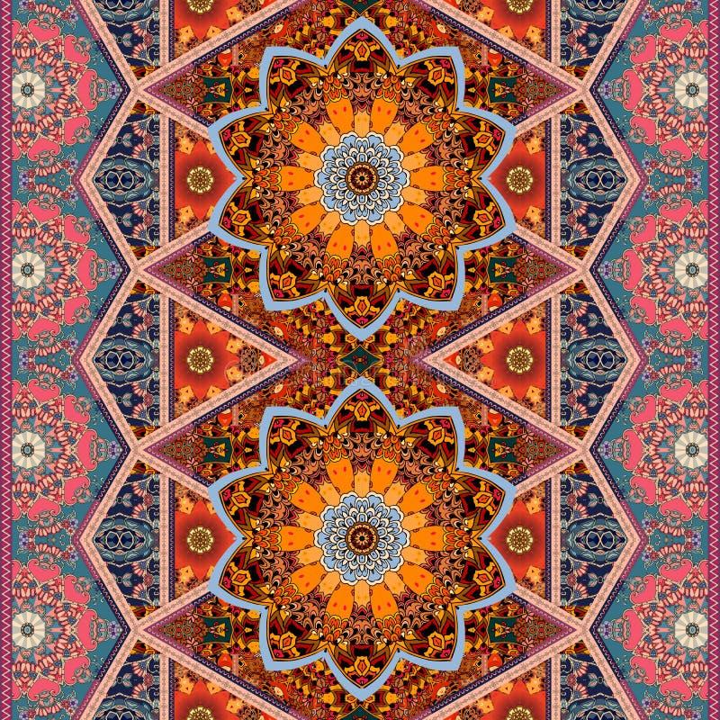 Mod?le de tissu de tapisserie pour la belle couverture dans le style de patchwork Motifs indiens, marocains, mexicains illustration libre de droits
