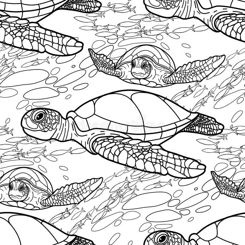 Modèle de tortue de mer de Hawksbill illustration de vecteur