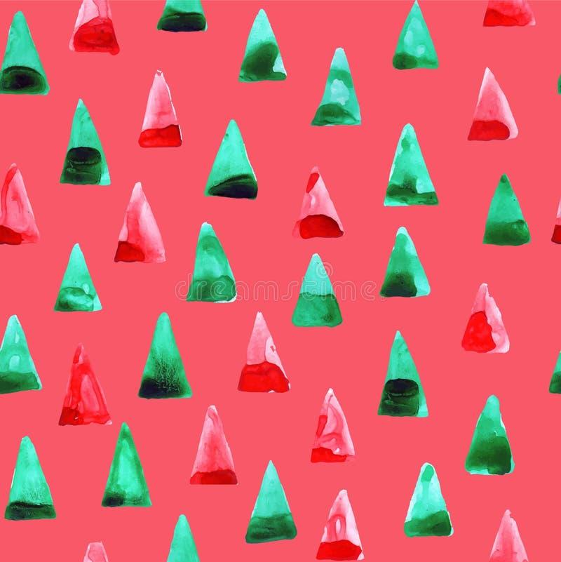 Modèle de triangles d'aquarelle de vecteur Calibre de la géométrie Configuration lumineuse Couleurs vertes et rouges illustration libre de droits