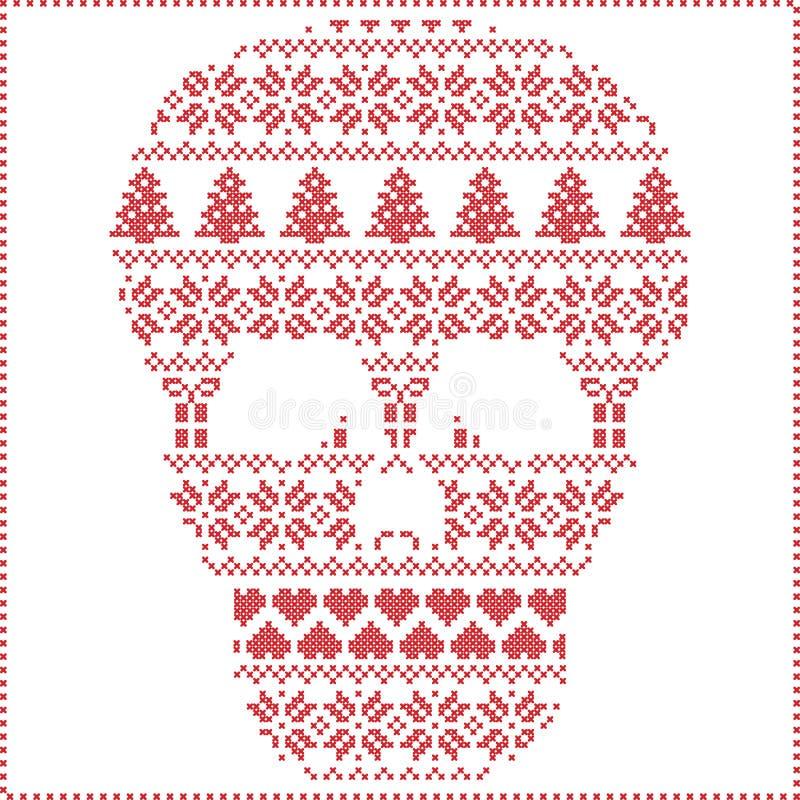 Modèle de tricotage piquant de Noël d'hiver nordique scandinave dedans dans la forme de crâne de sucre comprenant des flocons de  illustration libre de droits