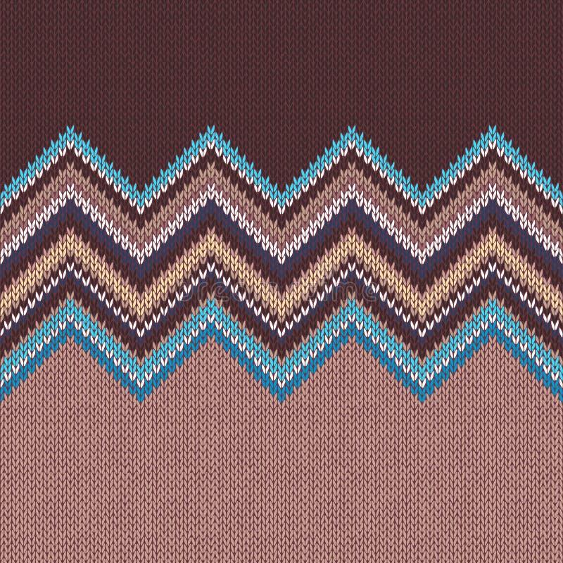Modèle de tricotage sans couture avec l'ornement de vague illustration libre de droits