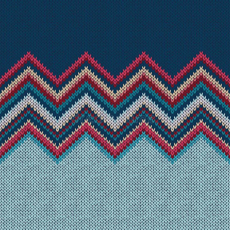 Modèle de tricotage sans couture de Noël avec l'ornement de vague illustration de vecteur