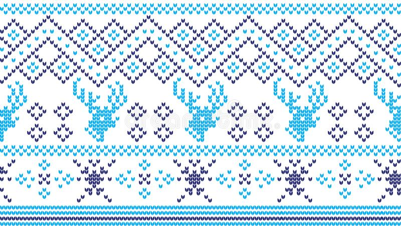 Modèle de tricotage de vacances d'hiver avec des arbres de Noël Conception de tricotage de chandail de Noël Texture tricotée par  photographie stock