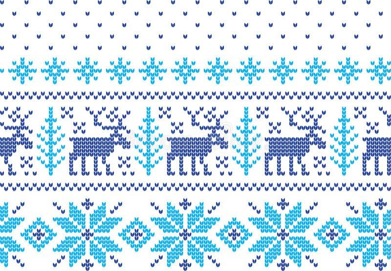Modèle de tricotage de vacances d'hiver avec des arbres de Noël Conception de tricotage de chandail de Noël Texture tricotée par  photo stock