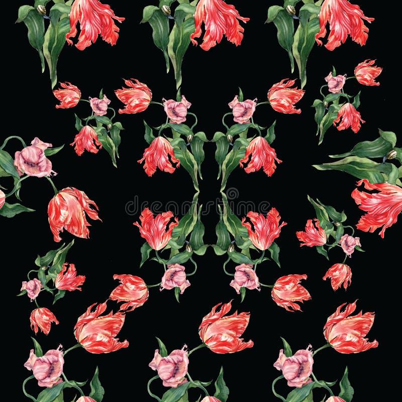 Modèle de tulipes d'aquarelle illustration de vecteur
