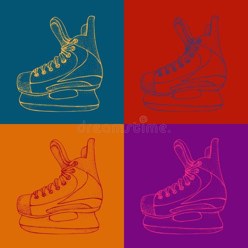 Modèle de vacances d'hiver avec le croquis de bande dessinée de raies de glace Patins rouges et bleus de hockey sur glace Illustr illustration de vecteur