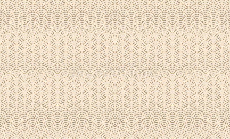Modèle de vague japonais sans couture Répétition de la texture chinoise de courbe de l'eau d'océan Or et blanc illustration de ve illustration stock