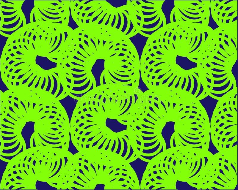 Modèle de vague lumineux au néon vert des anneaux de la spirale sur un fond foncé illustration de vecteur