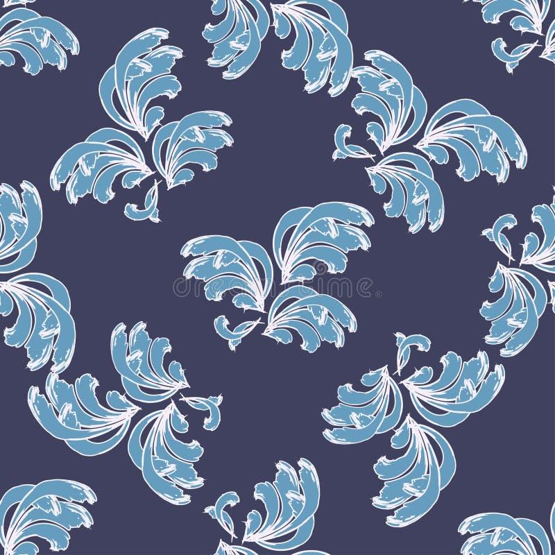 Modèle de vagues bleu stylisé sur un fond bleu-foncé illustration stock
