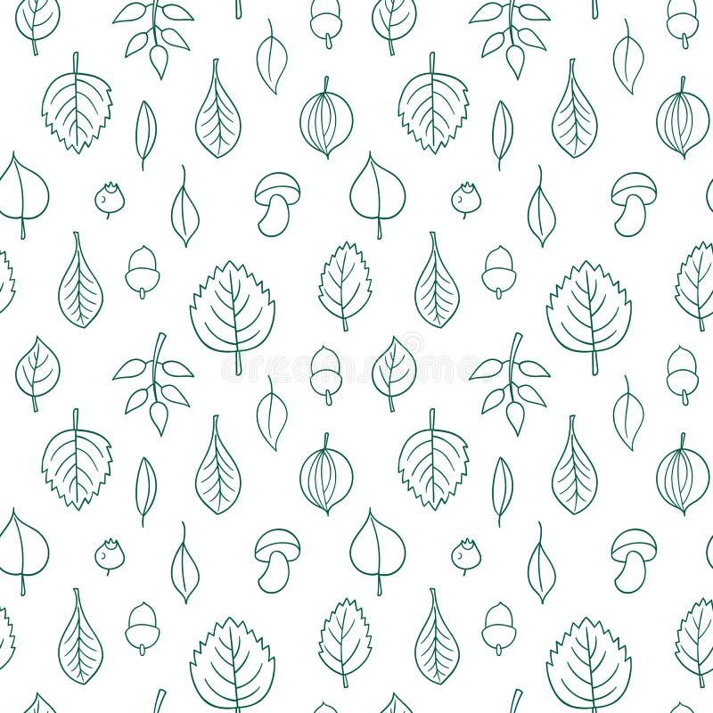Modèle de vecteur avec des feuilles Ornement sans couture d'automne Fond de saison d'automne illustration stock