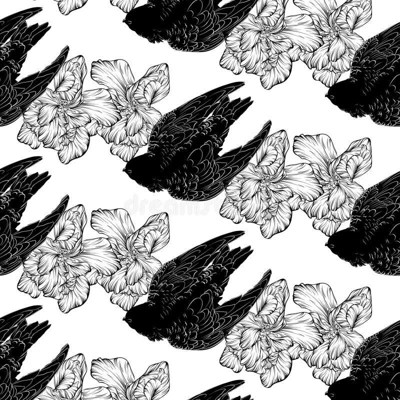 Modèle de vecteur avec l'illustration tirée par la main de rapide avec des fleurs d'isolement photos libres de droits