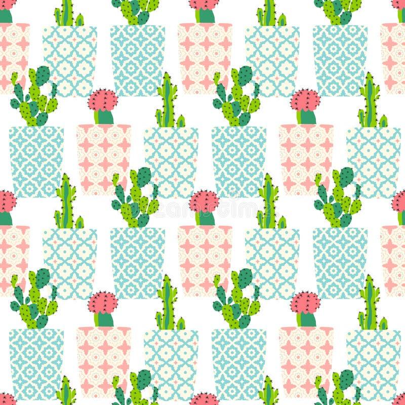 Modèle de vecteur avec le cactus illustration de vecteur