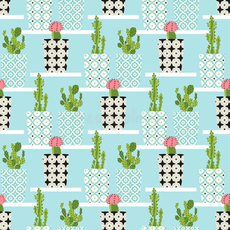 Modèle de vecteur avec le cactus illustration stock