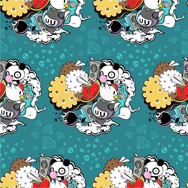 Modèle de vecteur avec le panda et le biscuit illustration libre de droits