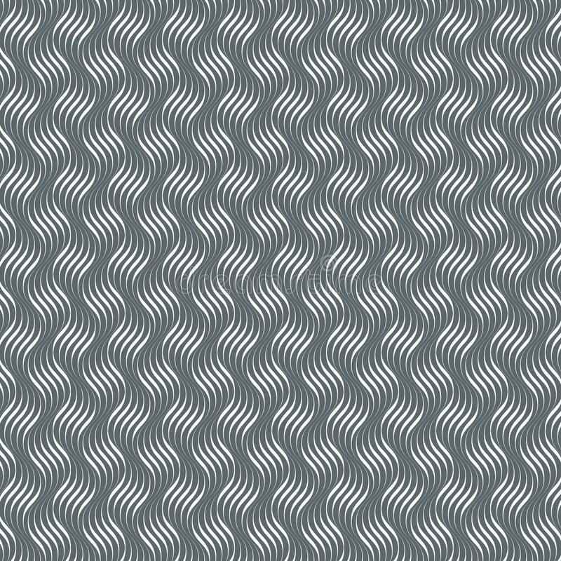 Modèle de vecteur avec les vagues géométriques Texture élégante sans fin Fond de monochrome d'ondulation illustration libre de droits
