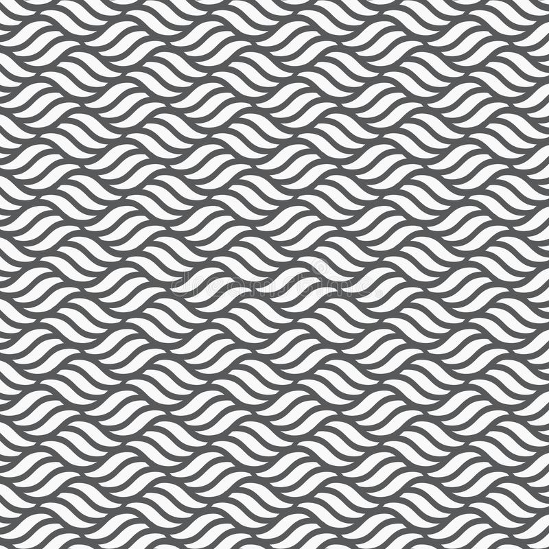 Modèle de vecteur avec les vagues géométriques Texture élégante sans fin Monochrome d'ondulation sur le fond d'horizon illustration libre de droits