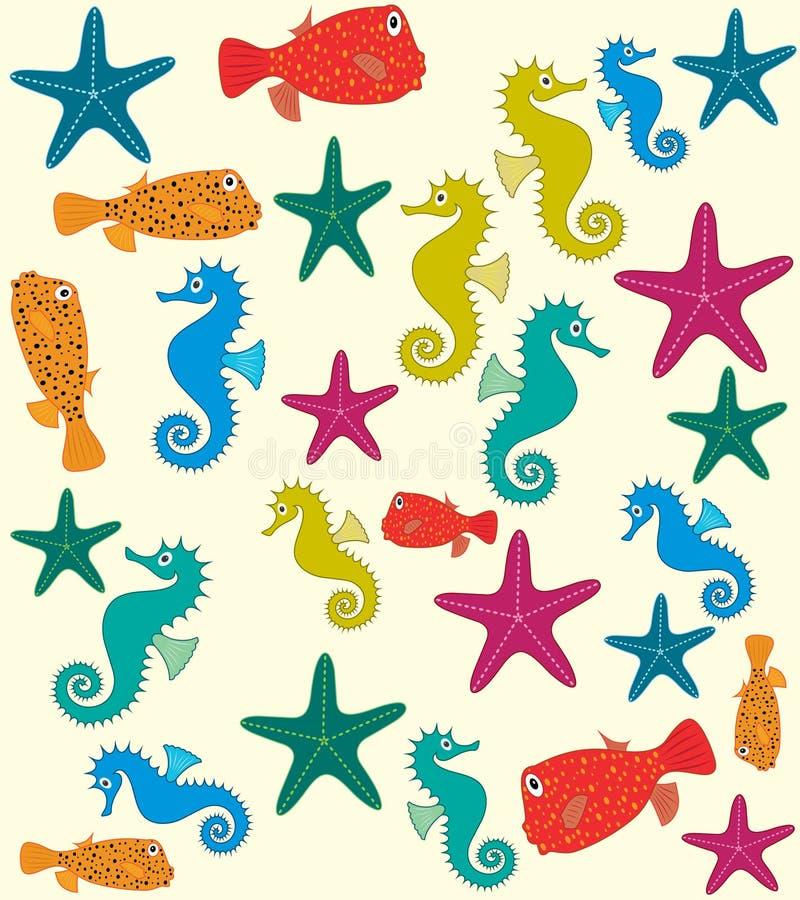 Modèle de vecteur d'animaux de mer illustration de vecteur