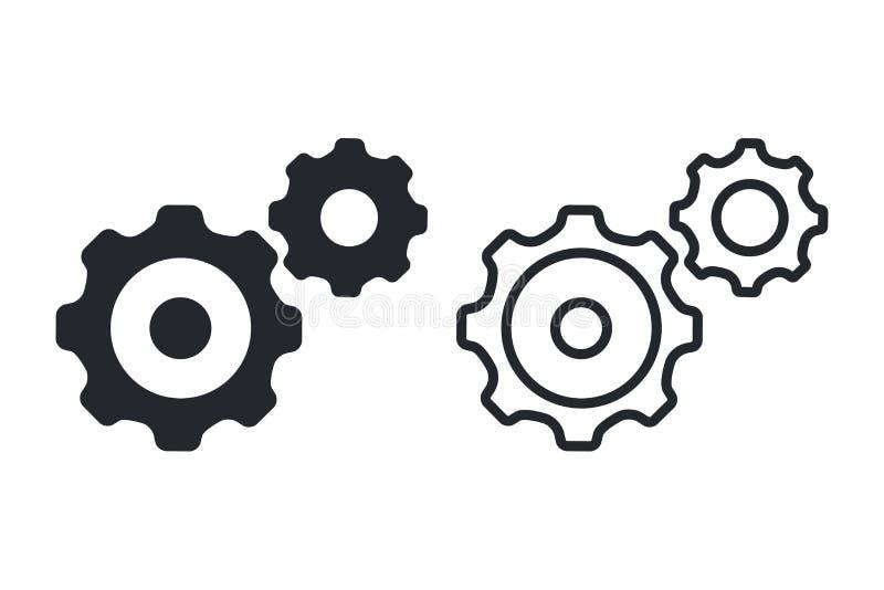 Modèle de vecteur d'icônes de l'engrenage, roue de cogwheel de conception plate Icône de processus métier, mécanique de travail I illustration stock