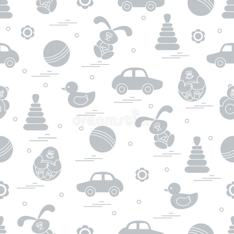 Modèle de vecteur de différents jouets : voiture, pyramide, cloporte, boule, image stock