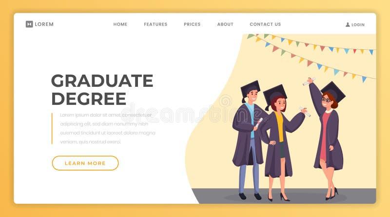Modèle de modèle de vecteur de la page d'atterrissage du diplôme universitaire Site web de l'école en ligne, site internet de l'u illustration de vecteur