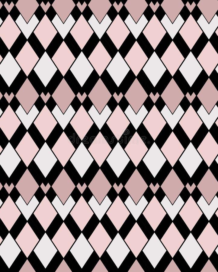 Modèle de vecteur de rose sur toute la surface géométrique et de places noires illustration stock